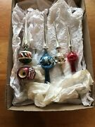 4 Vintage Mercury Glass Tree Toppers Ornaments Christmas Largest 13.5 Inches
