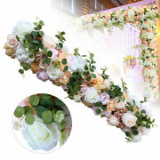 Artificial Rose Flower Wall Silk Flowers Row Panel Bouquet Wedding Party Props