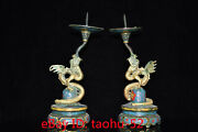Old Chinese Antiques Exquisite Pure Copper Cloisonne Gilt Fly Dragon Wax Table