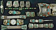 Vintage Sterling Silver And Turquois Navajo Art Wrist Watch Bands And Bracelet Lot.e