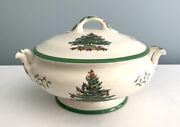 Spode Christmas Tree Covered Vegetable Bowl Serving Casserole Dish England