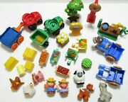 Fisher Price Little People Farm Lot Tractor Wagon Pump Windmill Animal Scarecrow