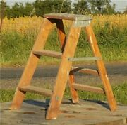 Wooden 3 Step Stool Ladder Kitchen Seat Chair Milking Rustic Vintage Ladder A