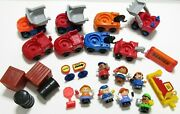 Fisher Price Little People Construction Dump Truck Tow Vehicle Cas Pump Sign Lot