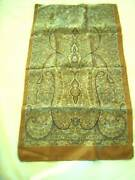 Nwot 1795 Russian Silk Scarf 14x60 Paisley Gold/bronze Border Mens Or Womens