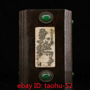 5.5old Chinese Antiques Black Sandal Wood Handmade Inlaid Gem Bone Pen Container