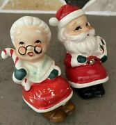 Vintage Santa Claus And Mrs. Claus Salt And Pepper Shakers Shelf Sitters