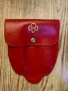 Girl Scout Folding Silverware Fork Knife In Red Pouch Mess Kit Vintage