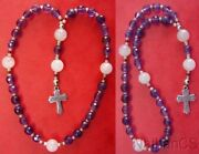 Mini Anglican Rosary W Amethyst And Pink Quartz Beads, Sterling Silver Cross