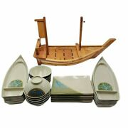 Sushi Set 29 Piece Melamine Ware With 23.5 Inch Wooden Sushi Boat Serving Buffet