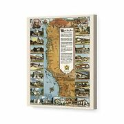 1949 California Map - Canvas Wrap Vintage Map Of California Missions Wall Art