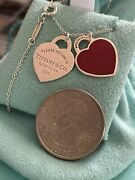 Tiffanyandco Double Heart Not Mini Tag Red Enamel Pendant Necklace Adjustable