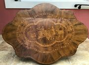 Antique 19th C Marquetry Coffee Table Columbus And Queen Of Spain