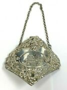 Vintage Sterling Silver Shabbat Wine Decanter Label Tag And Chain Judaica Hebrew