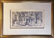 Childe Hassam Superb Etching Main St House East Hampton Ny Framed + Matted 1922
