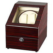 Chiyoda Watch Winder For Double Automatic Watches + 3 Storage Slots Wooden Box