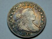 1807 50c Draped Bust Half Dollar Vf+, Nice Color Great Early Type Coin