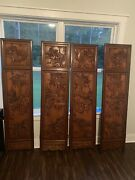 Antique Hand Carved Wooden Room Divider/privacy Screen Vintage Asian Oriental