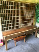 Vintage Usps Post Office Mail Sorter, Wood Cabinet, Apothecary Cabinet, 208 Slot