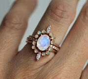 Solid 14k Rose Gold Natural Moonstone Opal Diamond Engagement Womens Gift Ring