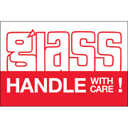 2 X 3 Glass - Handle With Care Labels Red/white 5000 Pcs
