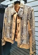 Nwot David2 Made In Italy Genuine Snakeskin Leather Chain Deco Whipstitch Jacket