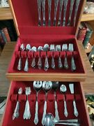 Rogers Stainless Andldquodream Roseandrdquo Silverware Set Of 98 Spoons Forks Knives And Box