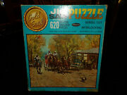 Vintage Guild Jig Saw Puzzle Western Stagecoach 304 Pieces Complete In Box