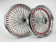 Dna Chrome Harley 21x3.5 And 18x3.5 Wheel Package Red Burgundy Nipples Flh 02-07