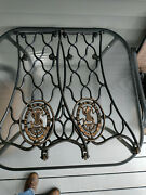 Vintage Singer Sewing Machine Cast Iron Treadle Base Legs With Wheels