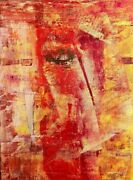Original Acrylic Abstract 9x12 On Canvas Board In Yellows Reds Oranges