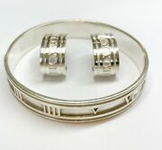 And Co Sterling Silver Atlas Roman Numeral Wide Bangle Bracelet And Earrings