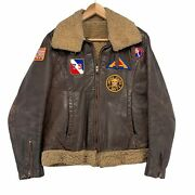 Vintage United States Military Shearling Leather Bomber Jacket Ideal Zip Navy