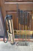 Antique Hickory Macgregor Duralite Golf Clubs W Canvas And Leather Stovepipe Bag