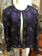 Papell Boutique Holiday/special Ocassion/evening Jacket Purple Black Sequins L