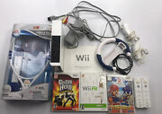 Tested Wii Console W/ Ea Tennis Racket And Games - Missing Sensor Bar/top Cover
