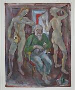 Emanuel Romano Glicen With Two Models Rare 1935 Oil Painting On Cloth, Signed