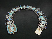 Nice Delicate Antique Chinese Silver And Enamel Flower Bracelet
