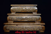 11.8old Chinese Antiques Hua Pear Wood Carver Dragon Pattern Tea Table Three Set