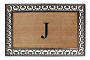 A1hc Rubber And Coir Floral Border Monogrammed Doormat Paisley Classic Border B...
