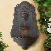 Outdoor Wall Water Fountain With Light 31 1/2 Lion Head 2 Tiered Garden Home