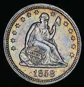1858 Seated Liberty Quarter 25c High Grade Choice Early Silver Us Coin Cc9512