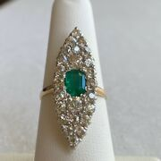 Victorian Diamond And Emerald 14k Cocktail Ring - Late 1800andrsquos Antique -size 6 3/4