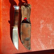 Marble Knife Vtg Antique Woodcraft Fixed Blade W/boy Scout Sheath Woodcrafter