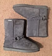 Bearpaw, Edna. 2203 Lady's Sz 10, Gray Suede Sherpa Lined, Winter Harness Boots