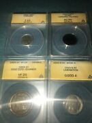 Anacsgraded Coin Lot, Buffalo Nickel, 3 Cent, Large Cent, British Farthing