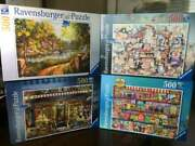 Lot Of 4 New Ravensburger 500 Piece Jigsaw Puzzles Sweets Cottage Cat Antiques