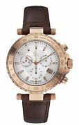 Guess Collection Menand039s Chrono Multi Dial Rose Gold Brown Leather Watch