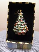 Mackenzie-childs Vintage Christmas Tree Glass Ornament With Gift Box