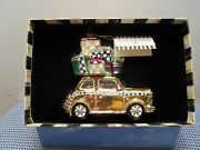 Mackenzie-childs Gold Home For The Holidays Glass Ornament With Gift Box